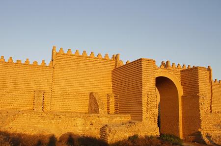 Walls of ancient Babylon in Iraq. Stock Photo