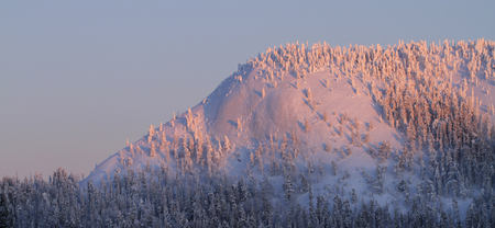 Konttainen fell lit by sunset. Konttainen fell is along the famous Karhunkierros hiking trail in Kuusamo, in Finland.