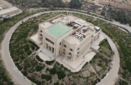 Saddam Hussein's deserted palace in Babylon in Iraq seen from air.