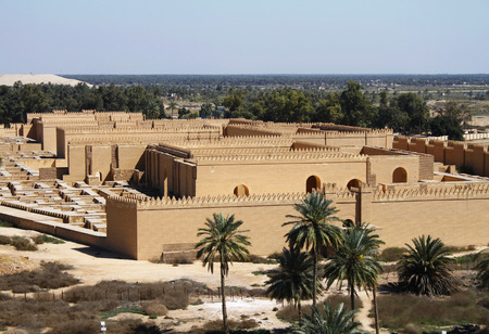 Restored ruins of ancient Babylon, Iraq in 22.3.2014. Most of the restoration work was done in era of Saddam Hussein. Scene is from the roof of the deserted palace of the Saddam Hussein. Editorial