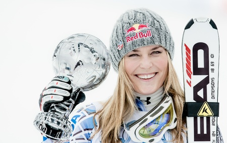 finals: Lindsey Vonn  USA  hold the trophy as the winner of the overall downhill world cup during the Alpine Ski World Cup finals in Parpan - Lenzerheide, Switzerland, 16 03 2011 Editorial