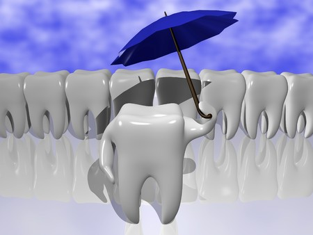 Cartoon of a tooth protecting himself with an umbrella Stock Photo - 4413474
