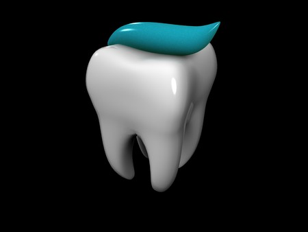 3D cartoon of a tooth covered with toothpaste Banco de Imagens