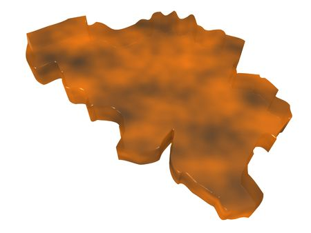 3D illustration of a map of Belgium