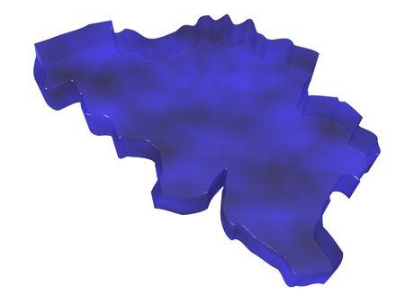 belgique: 3D illustration of the map of Belgium