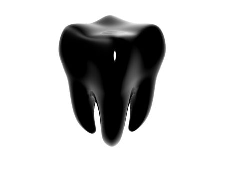 dental hygienist: 3D cartoon of a shiny black tooth