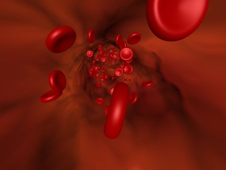 3D cartoon illustrating the red blood cell flow in a vessel