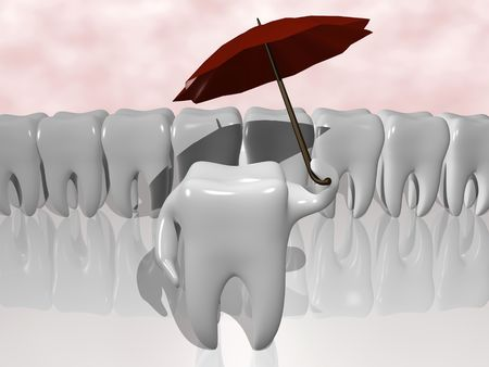 cartoon of a tooth protecting himself with an umbrella Stock Photo - 4486628