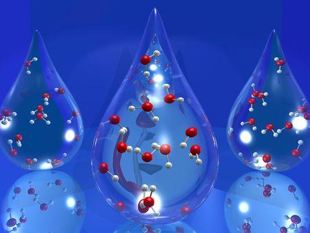 3 D 漫画の中の分子の水のドロップを示す