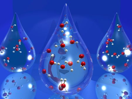3D cartoon illustrating a drop of water with molecules inside Stock Photo