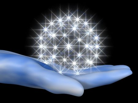 3D cartoon representing a hand with a halo of stars Stock Photo