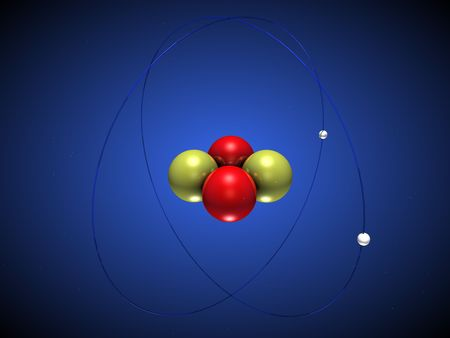 3D illustration of a helium atom with electrons around the nucleus Stock Illustration - 4713031
