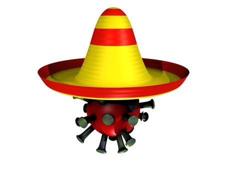 influenza: 3D cartoon with a influenza virus and a sombrero