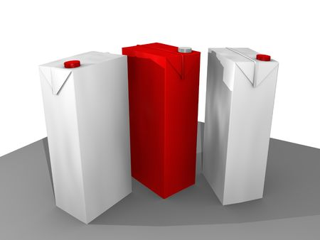 白と赤の 3 の tetra pak の 3 D 漫画