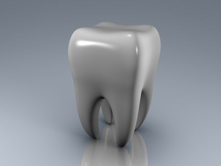 isolated white tooth on a reflecting surface Stock Photo