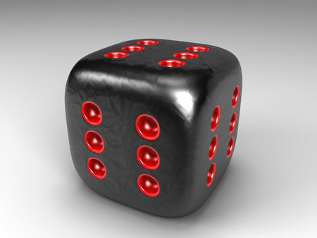 3D cartoon of a die with six pits on each side Stock Photo