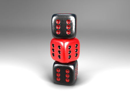 3D cartoon of a pile of three dice with all six pits