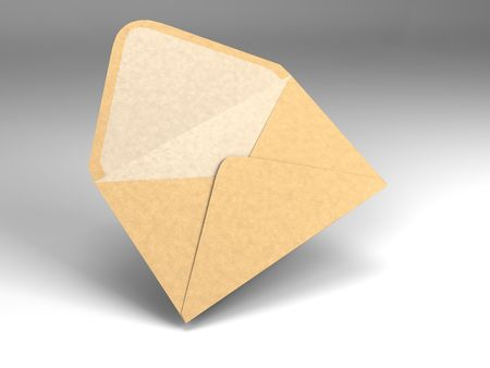 3D illustration of a single open envelope