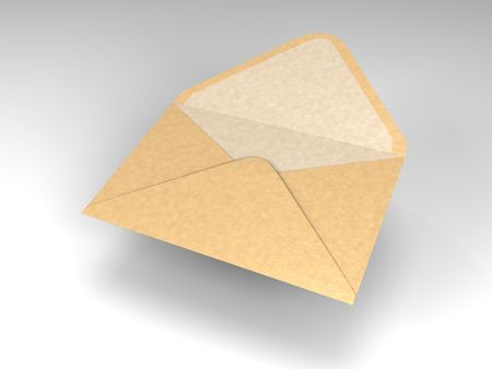 cartoon of a single open and floating envelope Banco de Imagens - 4945772