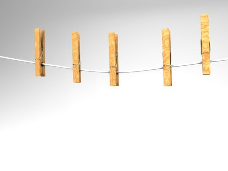 3D illustration of five  clothespins on a white clothesline