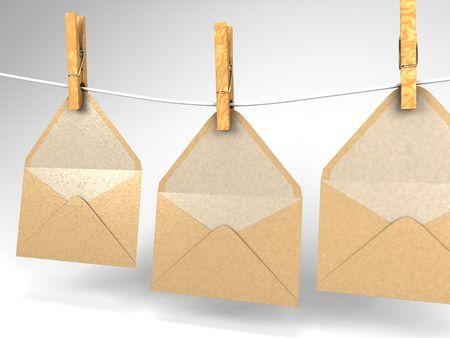 洗濯物にぶら下がっている 3 つの封筒の 3 D イラストレーション