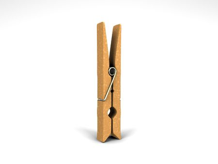 3D illustration of an isolated clothespin on a white background Stok Fotoğraf