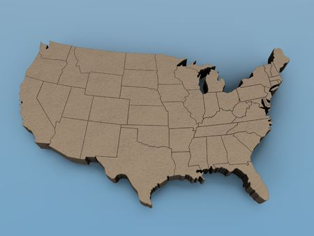 3D map of the USA on a blue background photo