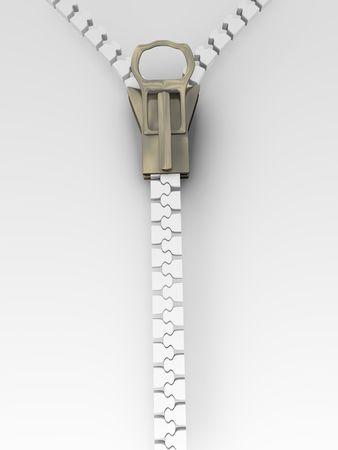 分離白と金属のジッパーの 3 d イラストレーション