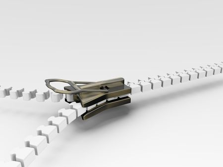 3d illustration of an isolated white and metal zipper