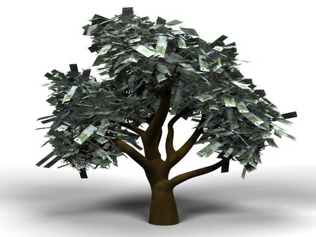 3D cartoon illustrating a money tree with 100 euro bills as leafs