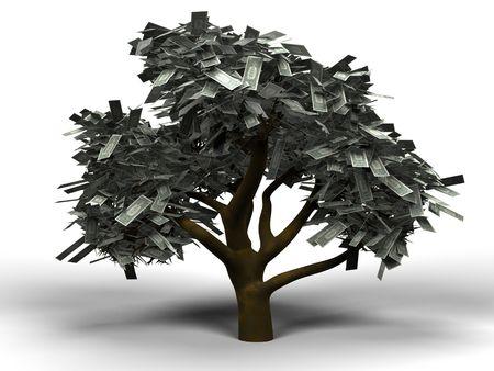 3 D イラストレーションとして 1 ドル手形のお金の木の葉っぱ