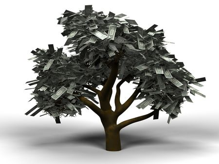 3D illustration of a money tree with 1 dollar bills as leafs