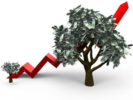3D cartoon illustrating the growth of a money tree with 100 euro leafs