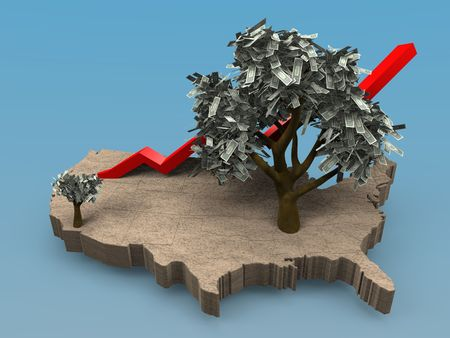 Cartoon illustrating a growing money tree on a map of the USA Banco de Imagens