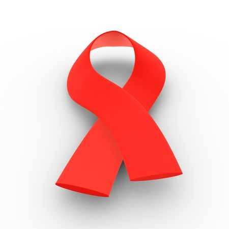 3D illustration of a red ribbon - AIDS Stock Photo