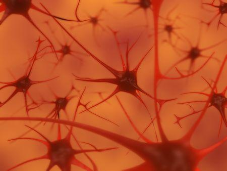 被写し界深度、脳のニューロンの 3 D イラストレーション 写真素材