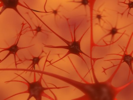 3D illustration of neurons in the brain with depth of field illustration