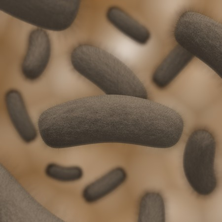 3D illustration of a colony of bacteria with depth of field Stock Photo