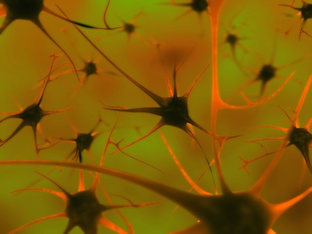 the depth: 3D illustration of neurons in the brain with depth of field Stock Photo