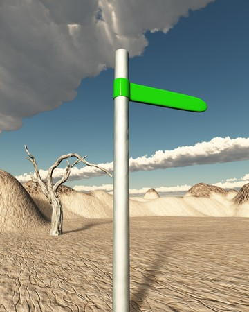 Illustration of a green road sign in the dessert that points to green land or oasis