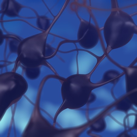 3D illustration of a neural circuit with depth of field