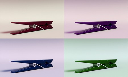 3D render of a clothespin in 4 different colors Stok Fotoğraf