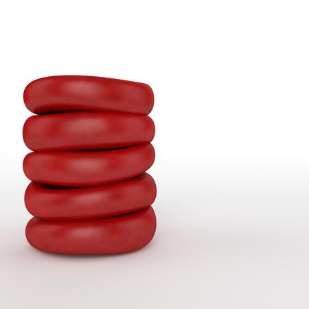 凹面の赤い血球またはヘモグロビンが含まれているし、毛細血管に戻る肺から酸素や一酸化炭素の輸送のため責任が細胞の杭のイラスト