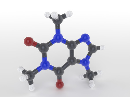 Structure of a caffeine molecule a naturally occuring psychoactive drug found in coffee, tea and verba with pharmaceutical and medicinal properties