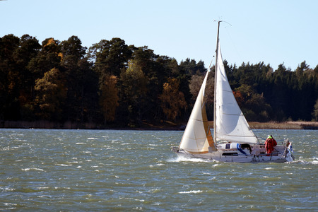 windy day: Sailboat on windy day.