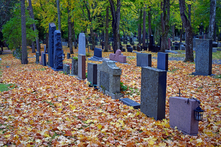 tombstones: Tombstones on autumn cemetery. Colorful leaves on the ground.