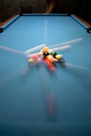 eight ball: Power break in eight ball pool game