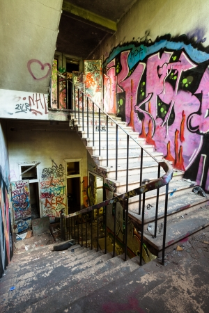 abandoned factory: Staircase in abandoned factory