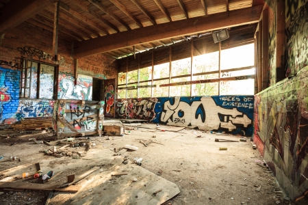 Abandoned warehouse in natural light