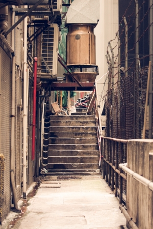 Messy side alley in hong kong Stock Photo